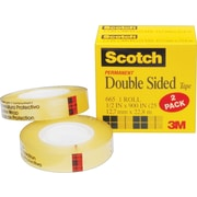 "Scotch® Double Sided Tape, 1/2"" x 900"", 1"" Core, 2/Pack (665-2PK)"