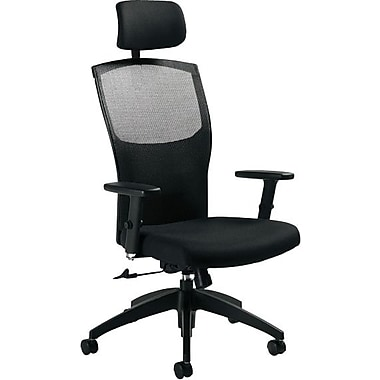 Global® Alero Executive High-Back Mesh Tilter with Headrest, Ebony