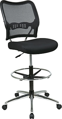 Office Star 13-37P500D Space Seating Mesh Armless Back Drafting Chair, Black