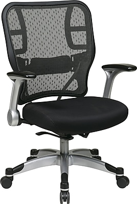Office Star SPACE Mesh Executive Office Chair, Adjustable Arms, Black (215-3R2C62R5)