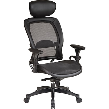 Office Star High-Back Mesh Manager's Chair, Adjustable Arm, Black