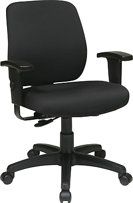 Office Star WorkSmart Fabric Computer and Desk Office Chair, Adjustable Arms, Coal (33107-30)