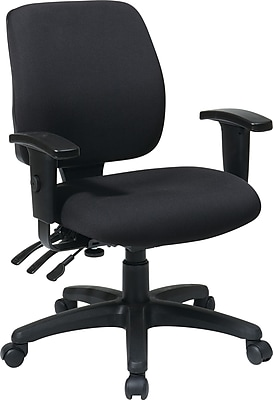 Office Star WorkSmart Fabric Computer and Desk Office Chair, Adjustable Arms, Black (33327-30)