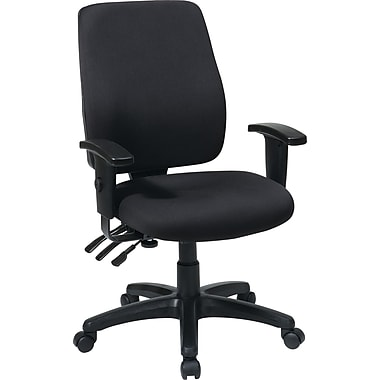 Office Star WorkSmart Fabric Executive Office Chair, Adjustable Arms, Black (33347-30)