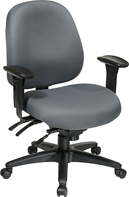 Office Star 43891-226 Work Smart Fabric Mid-Back Task Chair with Adjustable Arms, Gray
