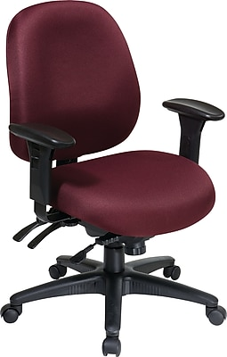 Office Star WorkSmart Fabric Computer and Desk Office Chair, Adjustable Arms, Red (43891-227)