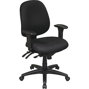 Office Star WorkSmart Fabric Computer and Desk Office Chair, Adjustable Arms, Black (43891-231)