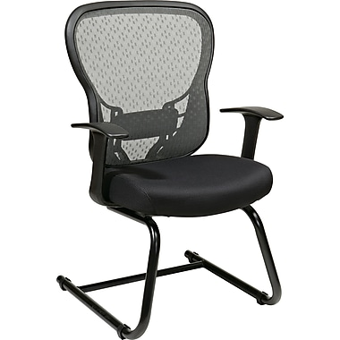 Office Star Space® Mesh Deluxe Visitor Chair with R2 SpaceGrid® Back, Black