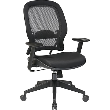 Office Star SPACE Fabric Computer and Desk Office Chair, Adjustable Arms, Black (5540)