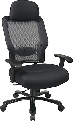 Office Star 63-37A773HM Fabric/Aluminum Big and Tall Chair, Black