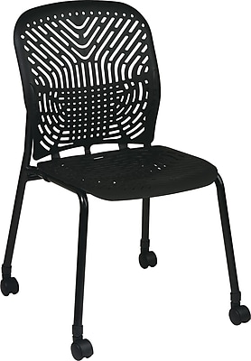 Office Star SpaceFlex® Platinum Seat and Back Guest Chair with Caster, Raven/Black, 2/Pk