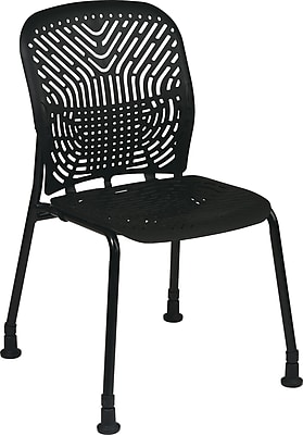 Office Star SpaceFlex® Platinum Seat and Back Guest Chair with Glide, Raven/Black, 2/Pk