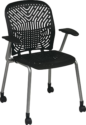 Office Star SpaceFlex® Platinum Seat and Back Guest Chair with Arm and Caster, Raven/Platinum