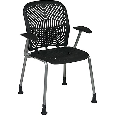 Office Star SpaceFlex Metal Visitors Chair, Raven (801-336AG)