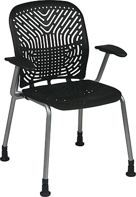 Office Star SpaceFlex® Platinum Seat and Back Guest Chair with Arm and Glide, Raven, 2/Pk
