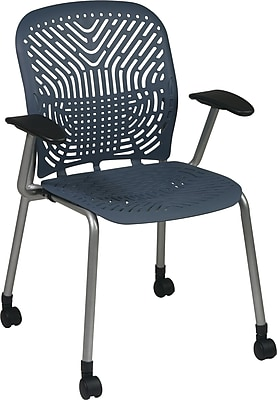 Office Star SpaceFlex® Platinum Seat and Back Guest Chair with Arm and Caster, Blue Mist/Platinum, 2/Pk