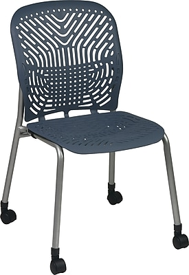 Office Star SpaceFlex® Platinum Seat and Back Guest Chair with Caster, Blue Mist, 2/Pk