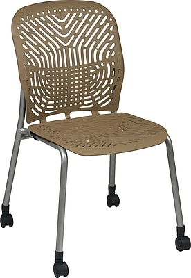 Office Star SpaceFlex® Platinum Seat and Back Guest Chair with Caster, Latte, 2/Pk