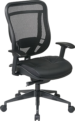 Office Star Space® Leather High Back Executive Chair with Matrex Back and Seat; Black