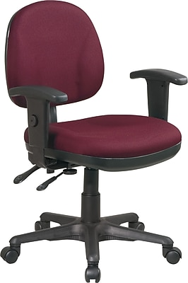 Office Star WorkSmart™ Polyester Ergonomic Managers Chair with Adjustable Arm, Burgundy