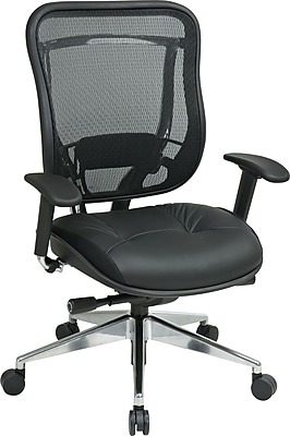 Office Star SPACE Leather Executive Office Chair, Adjustable Arms, Black (818A-41P9C1A8)