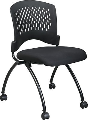 Office Star Proline II® Fabric Deluxe Armless Folding Chair with Plastic Back, Coal, 2/Pack