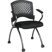 Office Star Proline II® Fabric Deluxe Folding Chair with Ventilated Plastic Back, Black