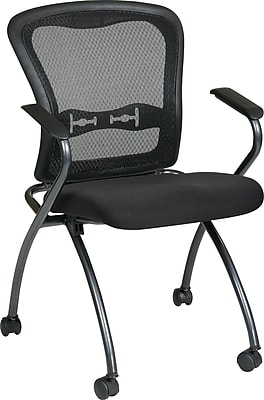 Office Star Proline II® Fabric Deluxe Folding Visitors Chair with Arm and ProGrid® Back, Black