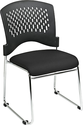 Office Star Proline II® Chrome Finish Frame Plastic Back and Fabric Guest Chair, Black