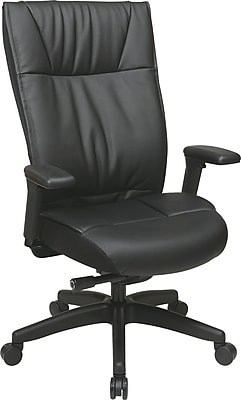 Office Star SPACE Leather Executive Office Chair, Adjustable Arms, Black (9370-55NC17U)