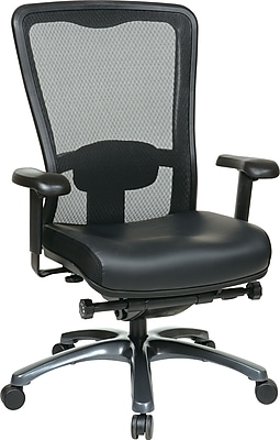 Office Star Proline II Leather Executive Office Chair, Adjustable Arms, Black (97728-EC3)