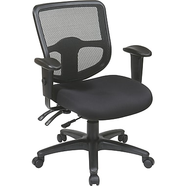 Office Star Proline II Fabric Computer and Desk Office Chair, Adjustable Arms, Black (98344-30)