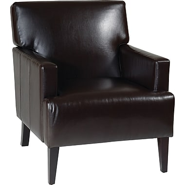 Office Star Avenue Six® Eco Leather Carrington Arm Upholstered Chair, Espresso