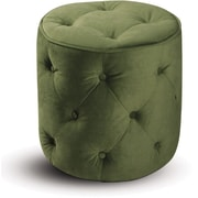 Office Star Avenue Six® Fabric Curves Tufted Round Ottoman, Spring Green Velvet
