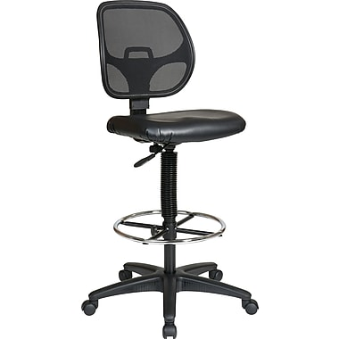 Office Star SDC2990V Work Smart Vinyl Mid-Back Armless Drafting Chair Black  sc 1 st  Staples : high stool with back support - islam-shia.org