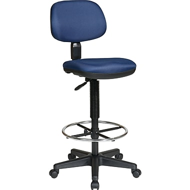 Office Star Worksmart Low-Back Fabric Drafting Chair, Armless, Navy
