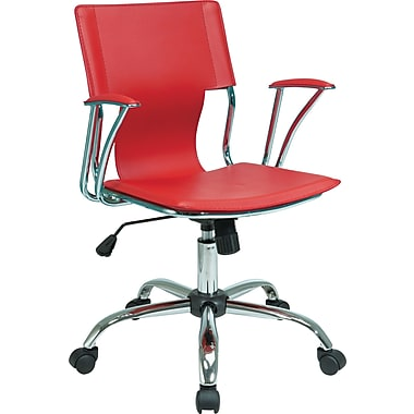 Office Star DOR26-RD Ave Six Vinyl Conference Chair with Fixed Arms, Red