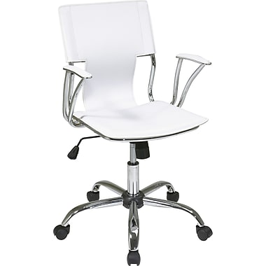 Office Star DOR26-WH Ave Six Vinyl Conference Chair with Fixed Arms, White