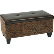 Office Star Avenue Six DTR2036-W10 Leather/Wood/Fabric Storage Ottoman, Wild Espresso