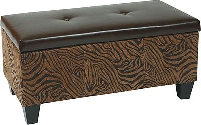 Office Star Avenue Six DTR2036-W10 Leather/Wood/Fabric Storage Ottoman, Wild Espresso