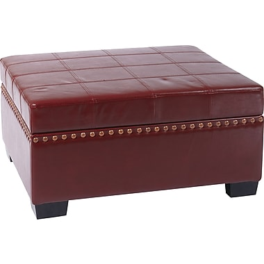 Office Star Avenue Six® Eco Leather Detour Storage Ottoman with Tray, Cherry
