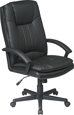 Office Star WorkSmart Leather Managers Office Chair, Fixed Arms, Black (EC22070-EC3)