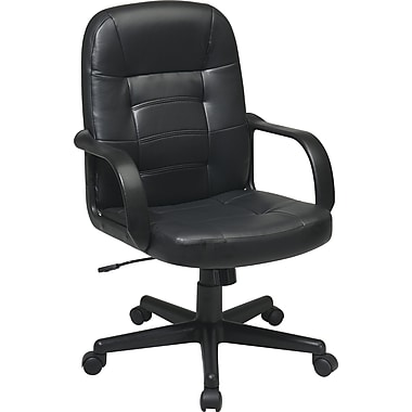 Office Star Worksmart Leather Managers Chair Fixed Arms Black Ec3393 Ec3