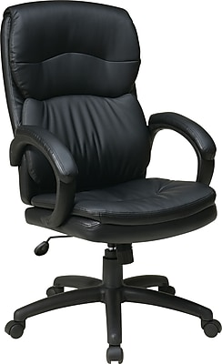 Office Star Worksmart Black High-Back Leather Executive Chair, Fixed Arms