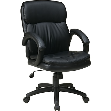 Office Star WorkSmart Leather Executive Office Chair, Fixed Arms, Black (EC9231-EC3)