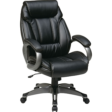Office Star WorkSmart™ Eco Leather Executive Chairs with Padded Loop Arms with Coated Base