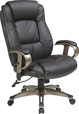 Office Star WorkSmart Leather Executive Office Chair, Adjustable Arms, Espresso (ECH52661-EC1)