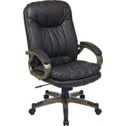 Office Star Work Smart High-Back Eco Leather Executive Chair, Fixed Arms, Espresso