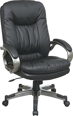 Office Star WorkSmart Leather Executive Office Chair, Fixed Arms, Black (ECH83507-EC3)