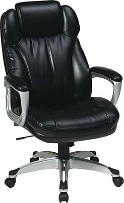 Office Star WorkSmart Leather Executive Office Chair, Fixed Arms, Black (ECH85806-EC3)